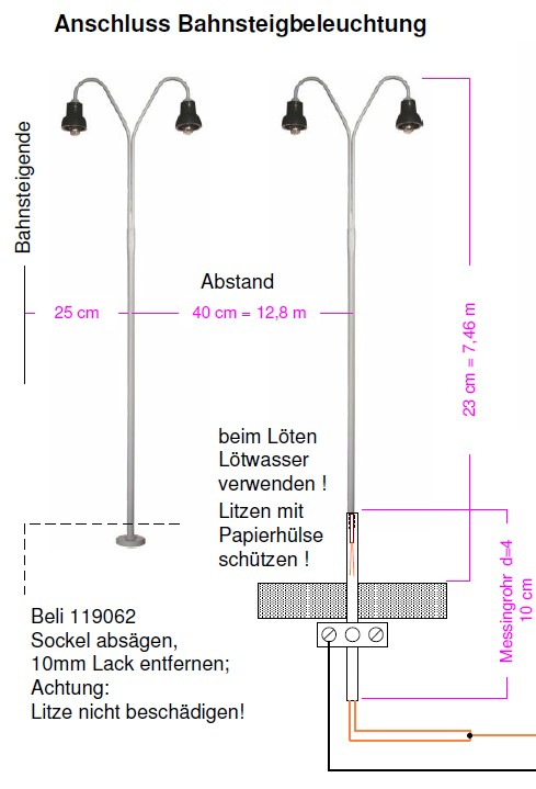 Modifikation BELI Bogenlampe 119062 für Spur1